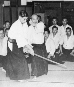 Morihei Ueshiba c. 1932 in demonstration with adopted son Kiyoshi Nakakura