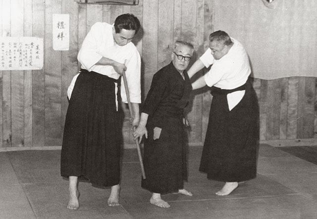 Kodo Horikawa demonstrating with Seigo Okamoto and unknown partner in Kitami, c. 1965