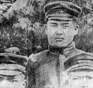 Morihei Ueshiba at about age 22 as infantry soldier