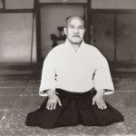 Formal portrait of Aikido Founder Morihei Ueshiba taken inside the Kobukan Dojo c. 1935