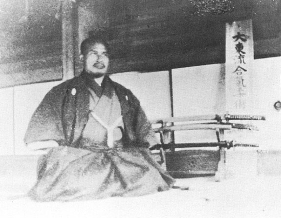 Morihei inside of Ueshiba Juku, Ayabe c. 1922