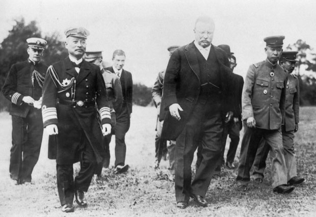 Commander Isamu Takeshita strolling with President Theodore Roosevelt in Washington, D.C. c. 1905