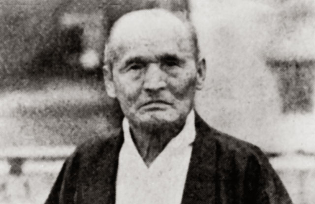 Sokaku Takeda (1859-1943) photographed in Osaka, c. 1939