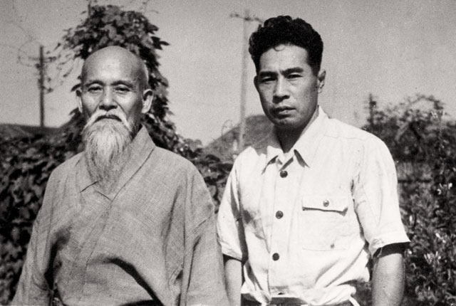 Morihei Ueshiba and Minoru Mochizuki, c. 1951