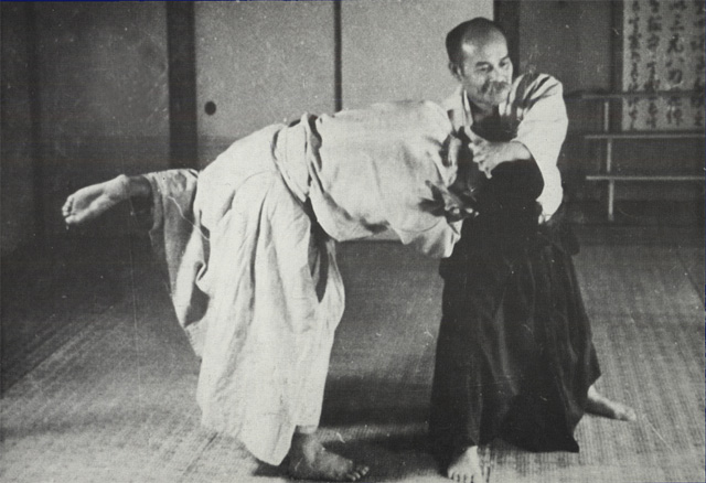 A photo of Morihei Ueshiba at age 52 taken at the Noma Dojo in 1936