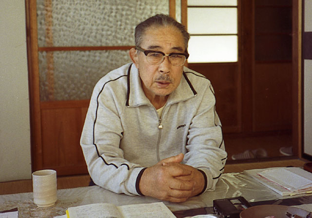 Minoru Mochizuki being interviewed at his home, c. 1987