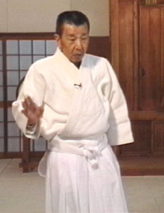 "Michio Hikitsuchi Sensei inside the Kumano Juku Dojo during filming of ""Essential Teachings of Aikido""."